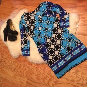 Blue, White, Black Shift Dress Size 6